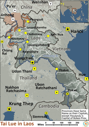 Tai Lue in Laos map