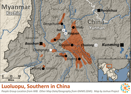 Luoluopo, Southern in China map