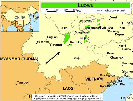 Luowu in China map