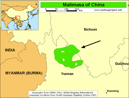Malimasa in China map