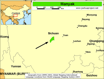 Manyak in China map