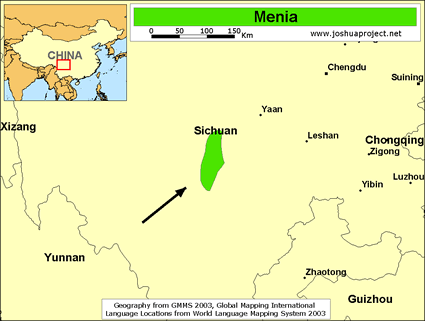 Menia in China map