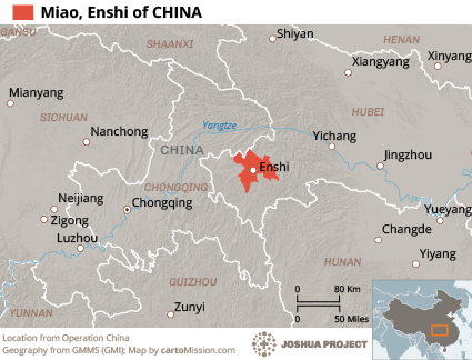 Miao, Enshi in China map
