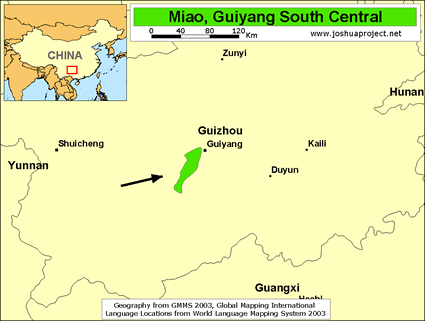 Miao, Guiyang South Central in China map