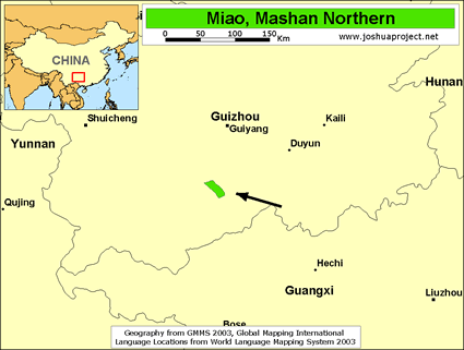Miao, Mashan Northern in China map