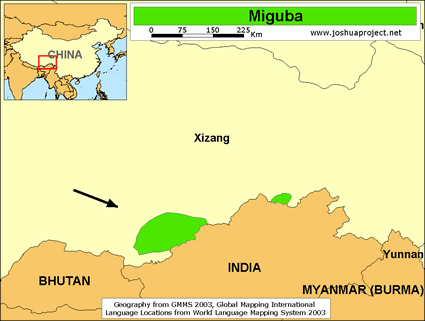 Miguba in China map