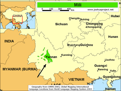 Mili in China map