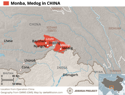 Monba, Medog in China map