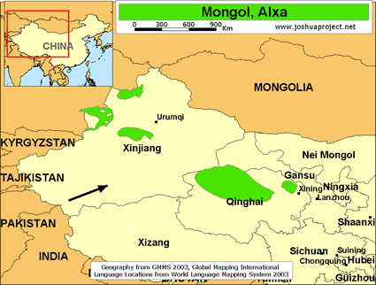 Mongol, Alxa in China map