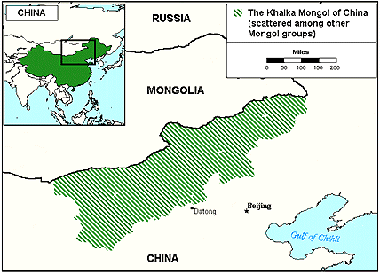 Mongol, Khalka in China map