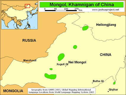 Mongol, Khamnigan in China map