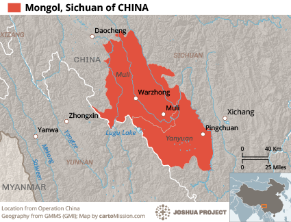 Mongol, Sichuan in China map