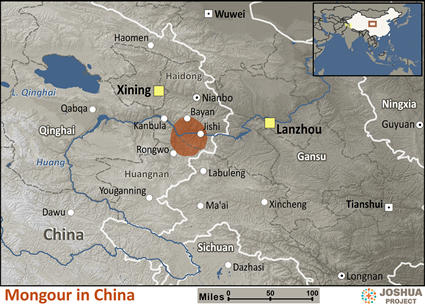 Mongour in China map