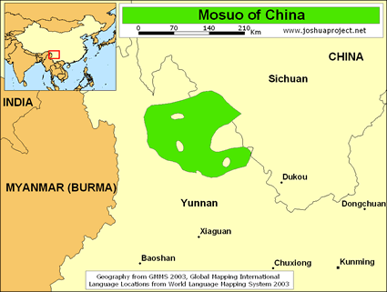Mosuo in China map