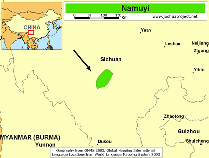 Namuyi in China map