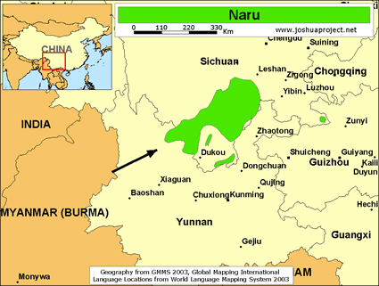 Naru in China map