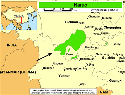 Naruo in China map