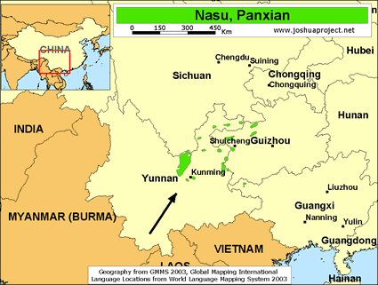 Nasu, Panxian in China map