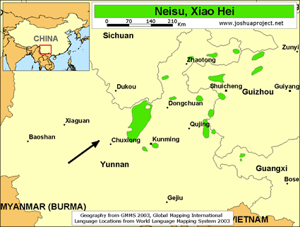 Neisu, Xiao Hei in China map