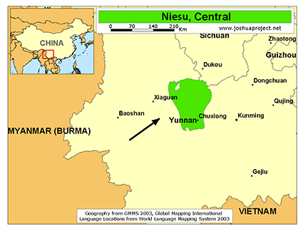 Niesu, Central in China map
