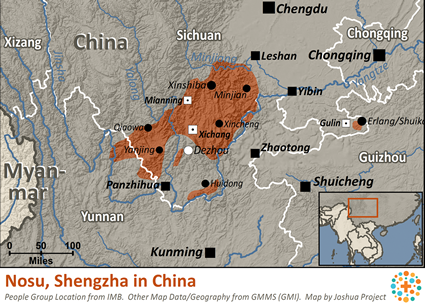 Nosu, Shengzha in China map