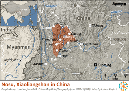 Nosu, Xiaoliangshan in China map