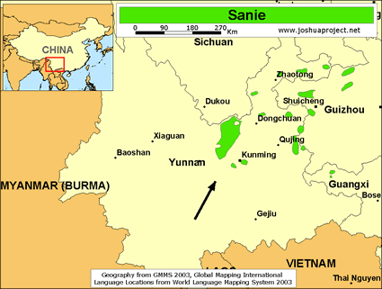 Sanie in China map