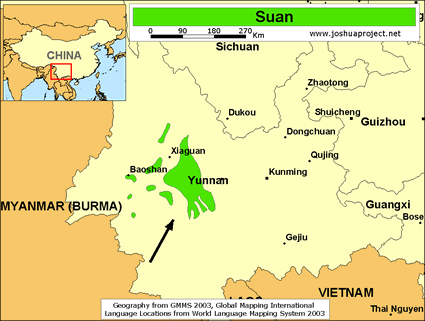 Suan in China map