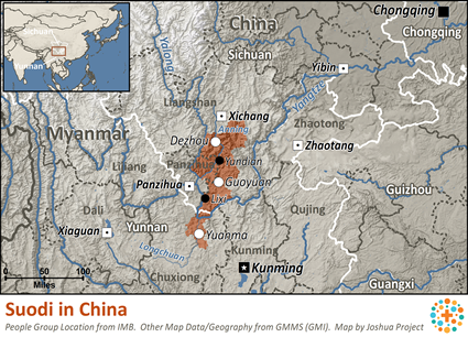 Suodi in China map