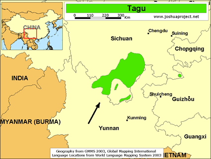Tagu in China map