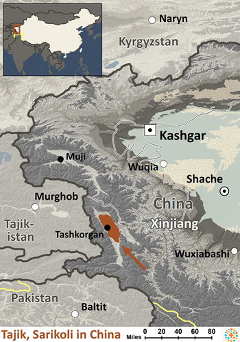 Tajik, Sarikoli in China map