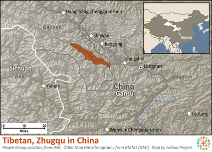 Tibetan, Zhugqu in China map