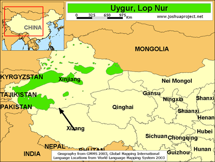 uygur lop nur in china map