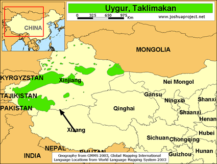 Uygur, Taklimakan in China map