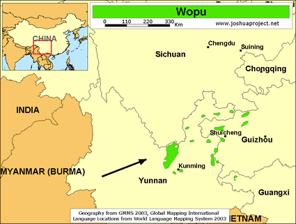 Wopu in China map