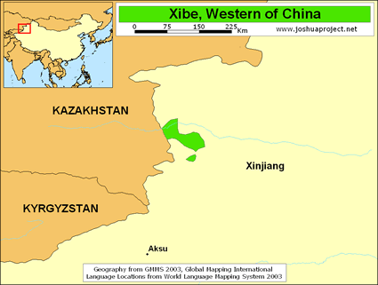 Xibe, Western in China map