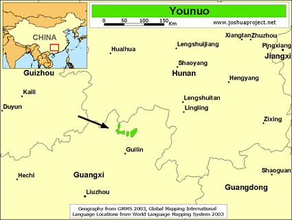 Younuo in China map