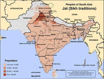 Jat (Sikh traditions) in India map