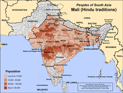 Mali (Hindu traditions) in India map