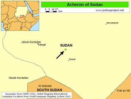 Acheron in Sudan map