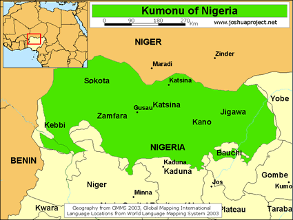 Maguzawa in Nigeria map
