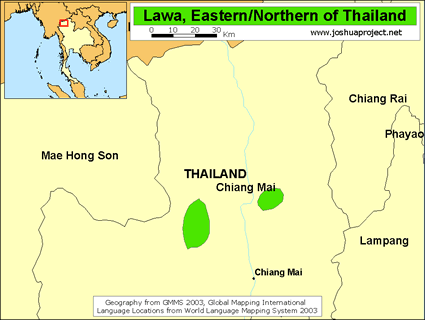 Lawa, Eastern in Thailand map