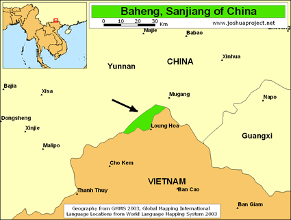 Baheng in China map