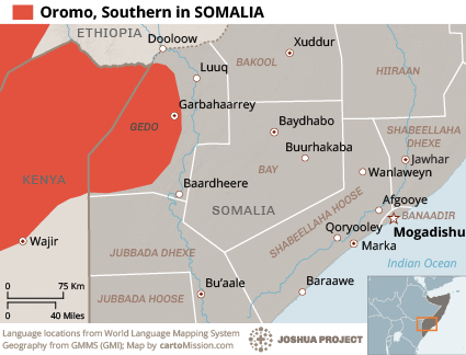 Oromo, Southern in Somalia map