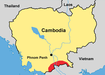Kampuchea Krom in Cambodia map