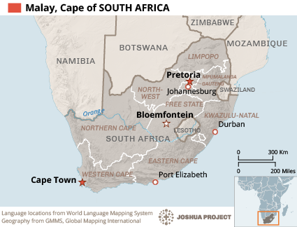 Malay, Cape in South Africa map