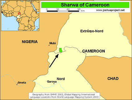 Sharwa in Cameroon map