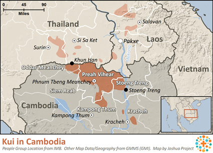 Kui in Cambodia map