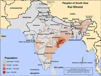 Kui Khond in India map