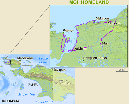 Moi, Mosana in Indonesia map